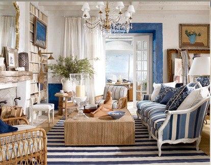 комната в морском стиле фото, гостиная в морском стиле фото, морской стиль в интерьере фото