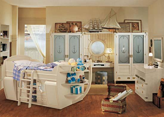комната в морском стиле фото, детская в морском стиле фото, морской стиль в интерьере фото, кровать в виде корабля фото