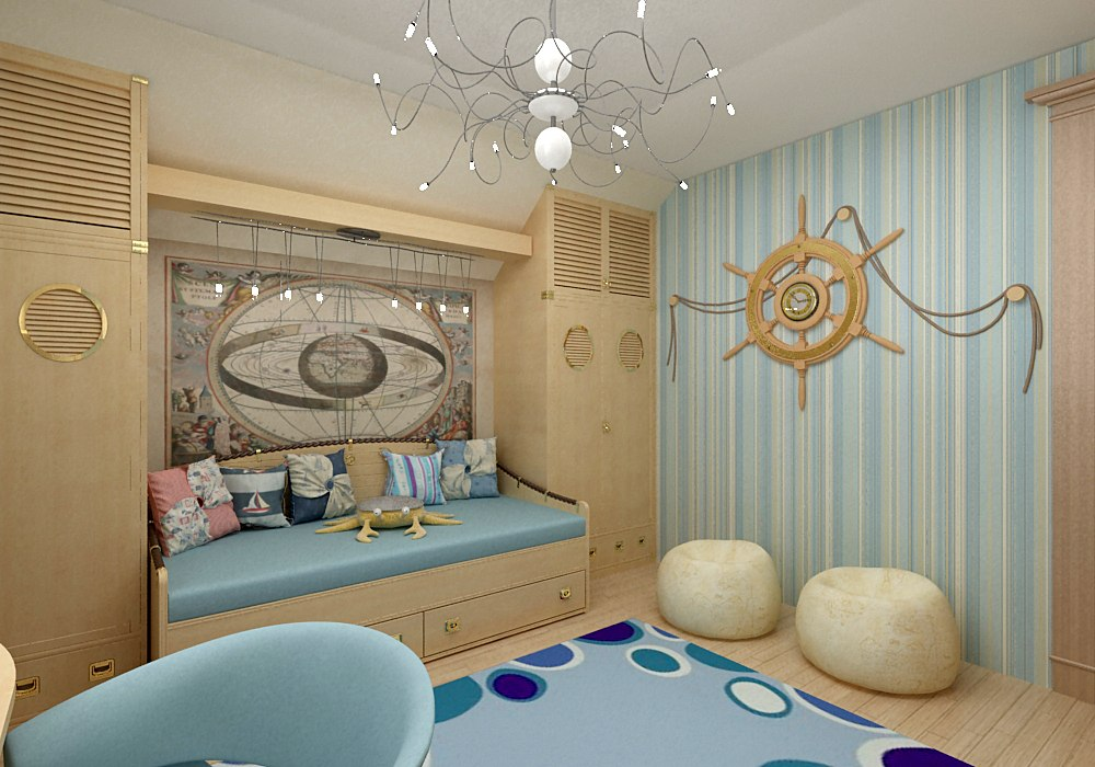 комната в морском стиле фото, детская в морском стиле фото, морской стиль в интерьере фото, часы в виде штурвала фото, карта в интерьере фото