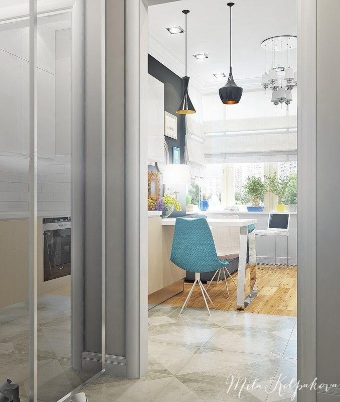 Интересное решение для квадратной студии 33 м с разворотом кухни и отделением маленькой спальни.
