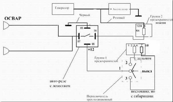 Схема подключения фар