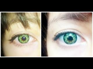 Мои цветные линзы. Обзор зеленых линз. Линзы, увеличивающие глаза.