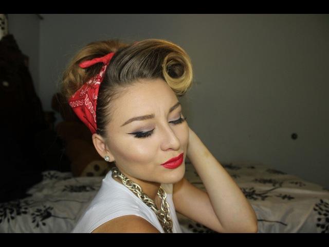 Pinup bandana hair and makeup tutorial
