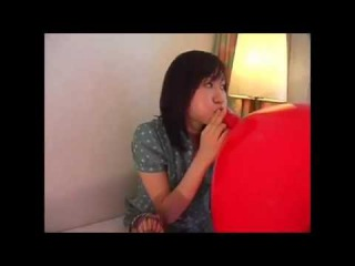 blow job !  24' balloon blow job  cute Japanese girl ,,,,balloon inflation