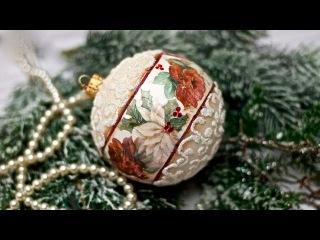 Новогодний шарик с микробисером. Decoupage BOMBKA Z MIKROKULKAMI tutorial DIY