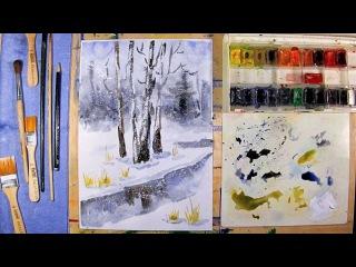 Как нарисовать зимний пейзаж - урок рисования для детей от 8 лети взрослых, рисуем дома поэтапно