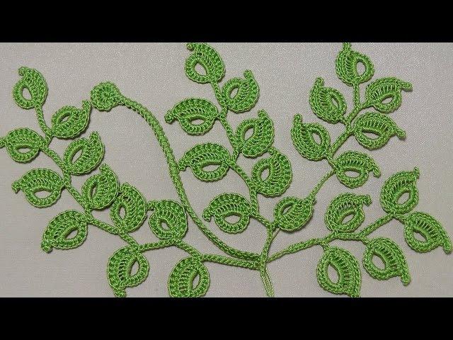 Урок вязания крючком. КАК ВЯЗАТЬ ВЕТОЧКУ ЛИСТИКОВ.Ирландское кружево. Irish lace.