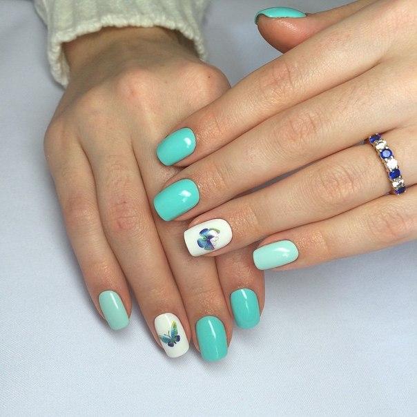 Дизайн ногтей с мятным цветом фото