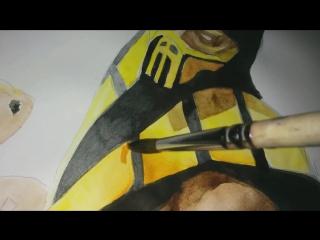 Скорпион из Мортал Комбат. How to draw a Scorpion. Mortal Kombat.