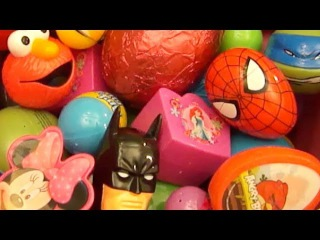 NEW Huge 101 Surprise Egg Opening Kinder Surprise Elmo Disney Pixar Cars Mickey Minnie Mouse