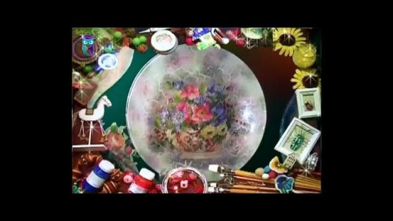 Дымчатый декупаж В технике дымка декорируем тарелку и часы Мастер класс Ната смотреть онлайн без регистрации