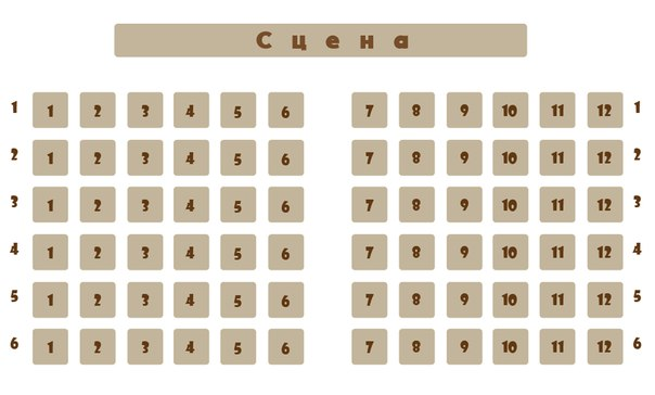Схема зала ДК Родина (малый