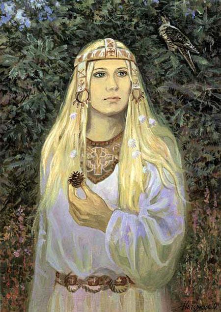 Жива — богиня Животворящих Сил Природы, весенних бурлящих вод, первых зеленых побегов, а также покровительница юных девушек и молодых жен.