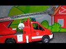 Развивающее видео с игрушками Bruder Пожарная Машина тушит пожар