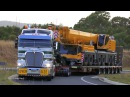 Membreys Kenworth K200 and unloading Liebherr LTM 1350