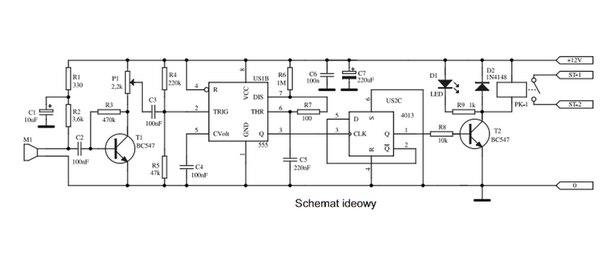 Схема звукового выключателя