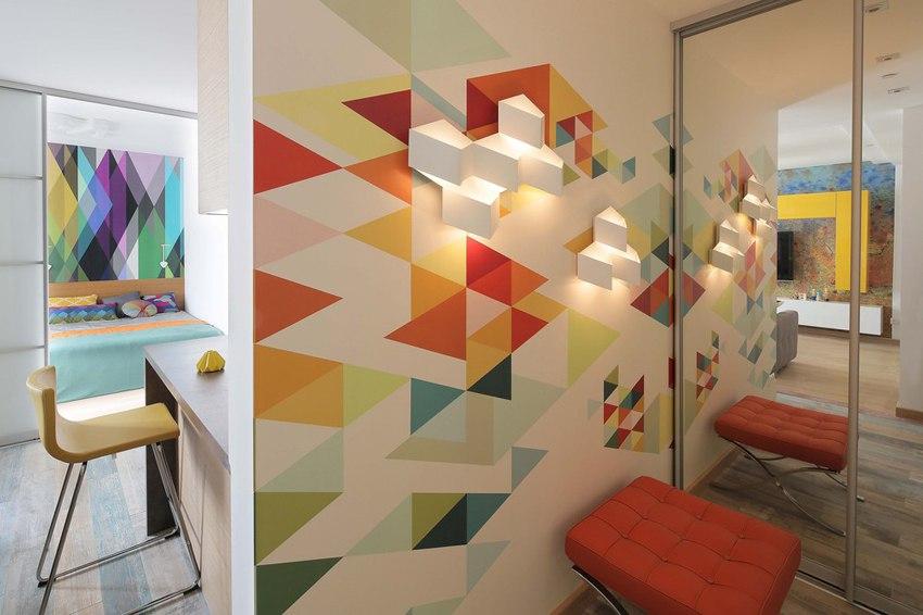 Яркий интерьер квартиры 42 м в Москве.