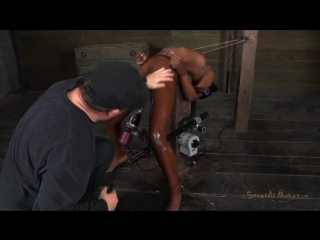 Ana Foxxx trapped in a brutal Bondage Device, machine fucked and deep throated to massive
