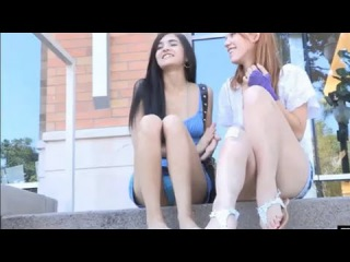 Skinny young girls kissing on the street public nudity