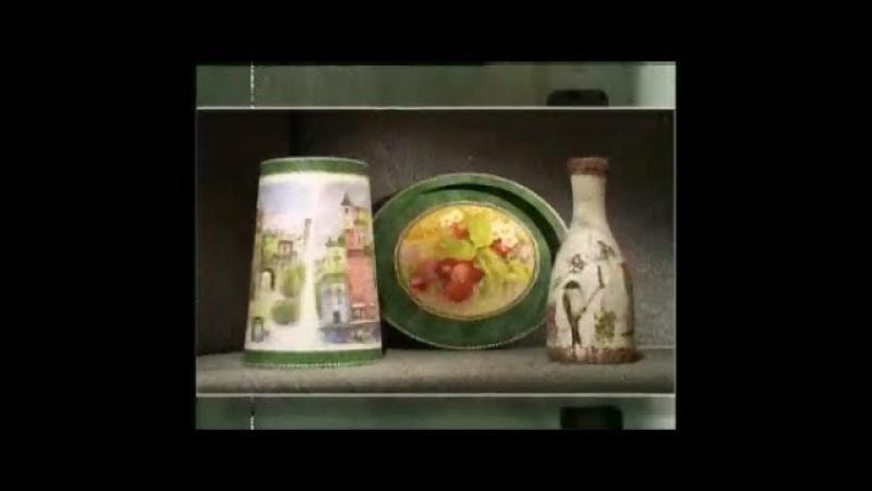Декупаж Декорируем абажур поднос и бутылку используя рисовую бумагу Мастер класс Наташа Фохтина