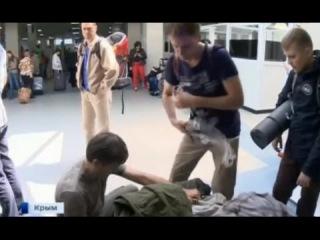 Встреча первых туристов , приехавших на майские праздники в Крым