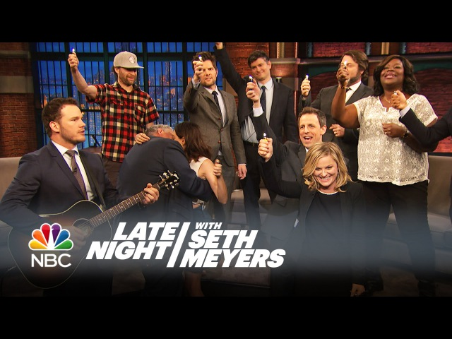 "The Parks and Recreation Cast Sings ""Bye, Bye Li'l Sebastian"" - Late Night with Seth Meyers"