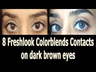 8 Freshlook Colorblends Contacts on dark brown eyes