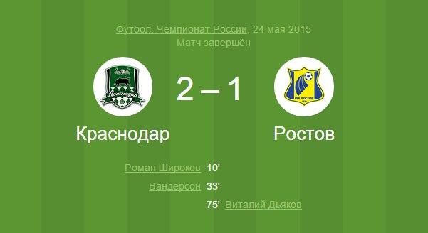 Краснодар побеждает Ростов в 29 туре