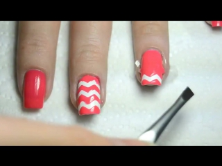 Fimo Chevron Nail Art Tutorial. Дизайн ногтей с цветами Фимо