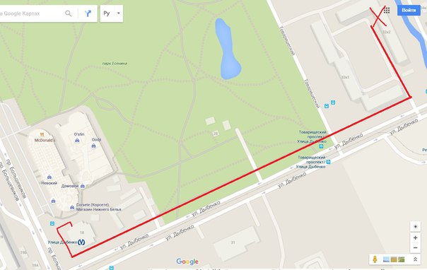 указана схема маршрута.