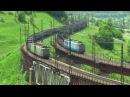 Электровозы встречются на мосту Electric locos meet on a bridge