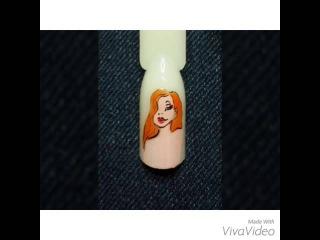 Мультяшка на ногтях, Джесика Ребит, ручная роспись.