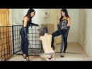 Две русских госпожи и раб в клетке Femdom Sessions, Russian Mistress, фемдом, foot fetish, страпон