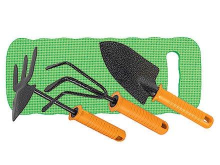Набор садовый, защ. покр, пласт, рук: рыхлит, мотыжк. комб, совок широк, коврик   SPARTA