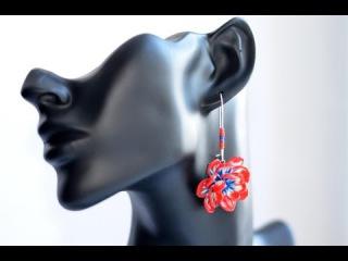 Трость Цветы Яркие серёжки Урок лепки Cane flowers bright earrings Lesson modeling