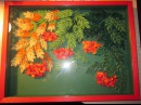 Quilling Original quilled framed artwork under glass Sorbus Квиллинг Картина Рябина