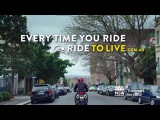 Motorcycle Ride to Live: Commuter rider. 15 seconds – Metropolitan intersection