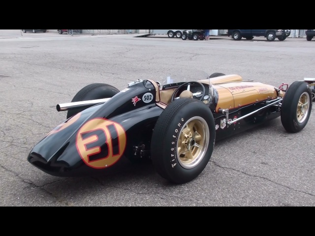 Vintage Racing - 1950s Indy Cars startup and race. LOUD