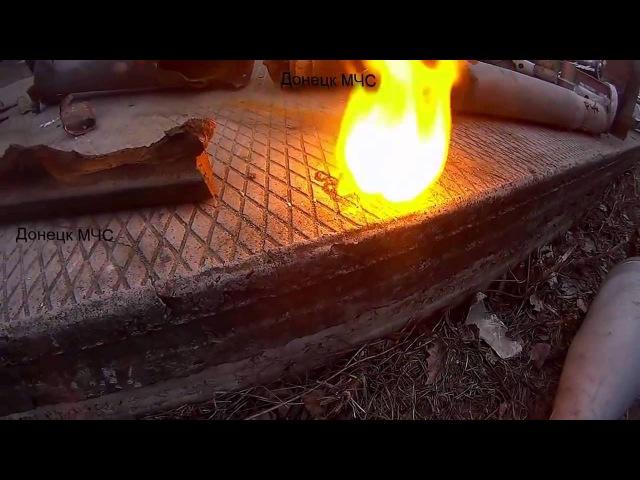 Как горит начинка зажигательной кассеты