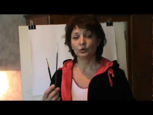 Учимся Рисовать Портрет в технике сухая кисть. Урок 1