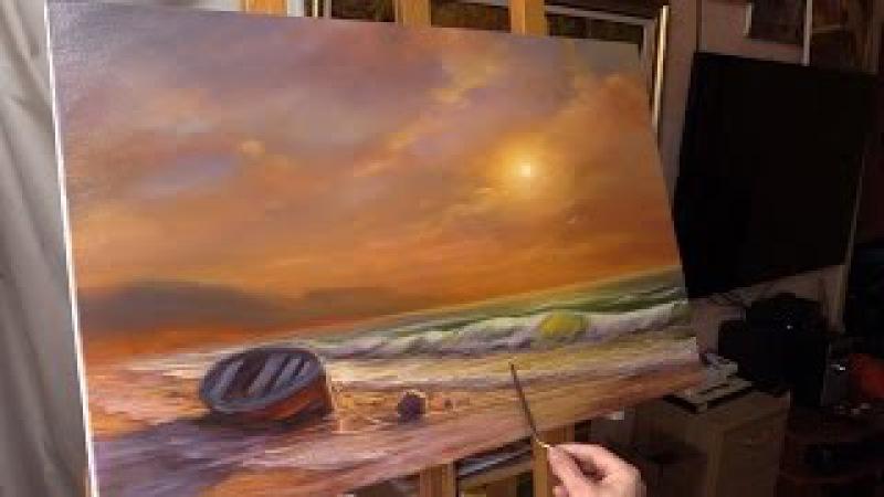 Oil painting demo. Evening by the sea. Вечер у моря. Живопись маслом Alla Prima