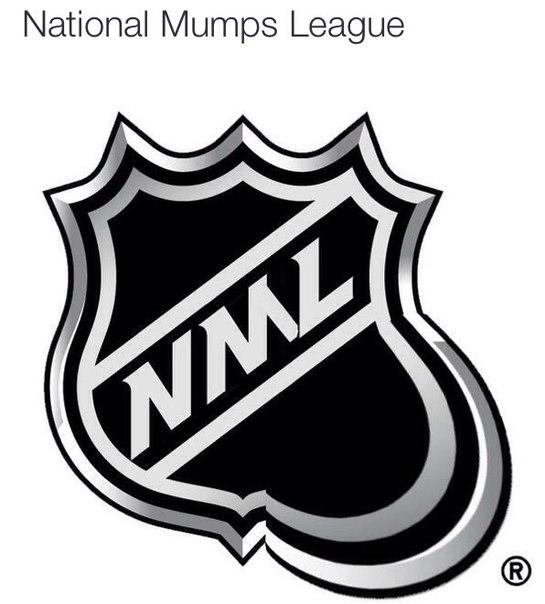 Вид логотипа НХЛ в связи с заболеванием ряда ее игроков ...