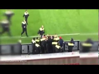 Bayer Leverkusen's player ,Emir Spahic, against stewards after DFB