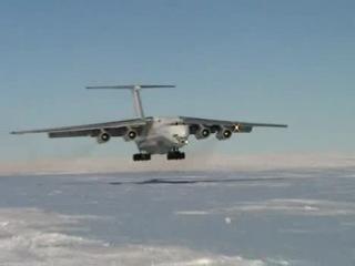 Ил-76, посадка на лёд Антарктиды...