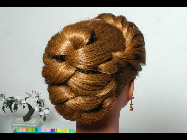 Hairstyle for long hair with twist braid. Updo tutorial
