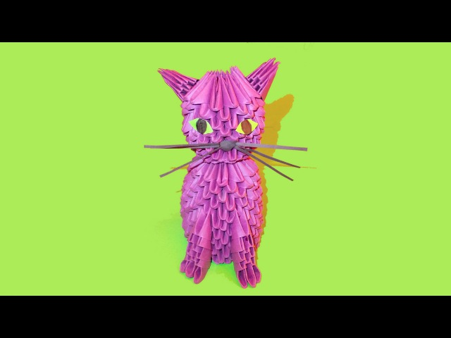 Модульное оригами кот (кошка, котенок) схема сборки