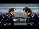 NHLers Ryan Johansen and Nick Foligno stick-handle veggies