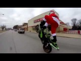 Santa Gone Wild Bike Stunting Santa Claus Take Over The Highway Breaking All Rules!  Santa Stunt