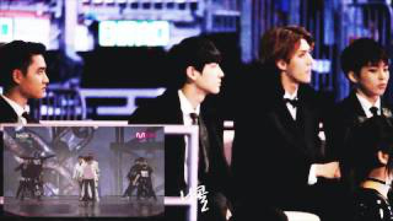 141203 EXO reaction to BTS vs Block B MAMA 2014 HD