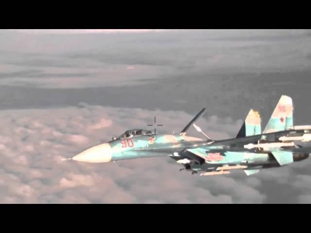 Су-27 Фланкер перехватывает P-3 Orion над Балтийским морем. Russian Su-27 Flanker and P-3 Orion